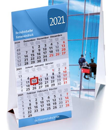 Tischkalender mit 3-Monatsübersicht